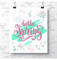 poster with a handwritten phrase-hello spring 2 vector image