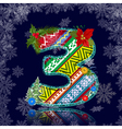winter number letter with an ornament vector image vector image