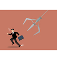 Businessman running away from robotic claw vector image