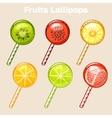 cartoon fruits candy lollipops vector image