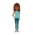 beautiful and young woman black character vector image