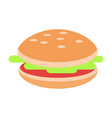 hamburger with meat and salad flat icon vector image