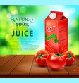 pack of tomato juice with tomato standing on a vector image