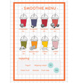 smoothie menu for cafe and juice bar hand drawb vector image
