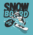 snowboard tee print design with a robot vector image