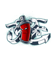 Graffiti image of can with arrows vector image