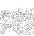 Park road and trees graphic black and white vector image