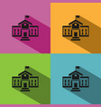 school building icon with shadow on colored vector image