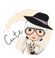 Cute girl with glasses vector image