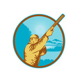 Hunter with shotgun rifle and mountains vector image