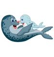Mother and baby seal cartoon vector image