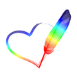 rainbow feather heart vector image