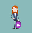 schoolgirl with a backpack going to school vector image
