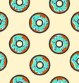 Seamless background with cartoon donut food vector image