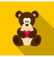 Teddy bear with pink heart icon flat style vector image