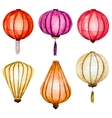 watercolor chinese lanterns vector image