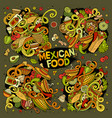 cartoon set of mexican food doodles design vector image