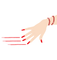 woman hand with ruby bracelet scratching red lines vector image vector image