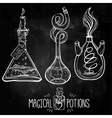 Hand drawn vintage alchemical laboratory icon vector image