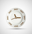 Plate as a clock and the words diet vector image