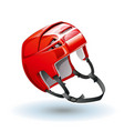 classic red ice hockey helmet realistic sports vector image
