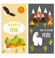 concept poster of peru with lama and landmarks vector image