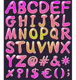 Letters of the alphabet in pink color vector image