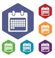 Month calendar icon hexagon set vector image
