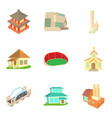 old building icons set cartoon style vector image