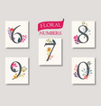set of beautiful flowers and numbers vector image