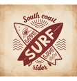 Red crossing surfing boards stamp with hand vector image vector image