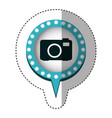 sticker of analog camera in circular speech with vector image
