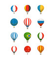 different color baloons collection national flags vector image vector image