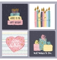 Happy birthday creative hand drawn cards vector image