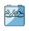blue shading silhouette of opened plumbing toolbox vector image