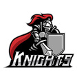 Knight mascot with shield vector image
