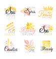 spa beauty salon set for label design health and vector image