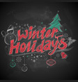 winter holiday merry christmas chalk lettering vector image