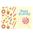 Birthday card with sweets - funny design vector image