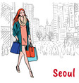 shopping street at myeongdong vector image