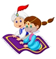 Cartoon Aladdin on a flying carpet traveling vector image