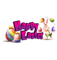 Happy Easter with bunny and egg vector image