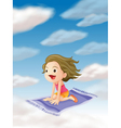 a girl flying on mat vector image