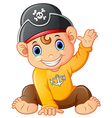 baby pirate waving hand vector image
