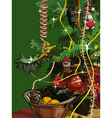 Christmas background with green branches and vector image