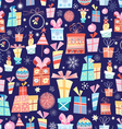 Christmas texture with gifts vector image