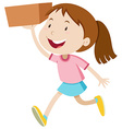 Girl running with a box vector image