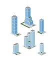 Isometric Tall City Office Buildings Pack vector image