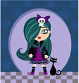 Sad emo girl and her cat vector image