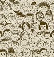 Seamless pattern of smiling crowd people vector image